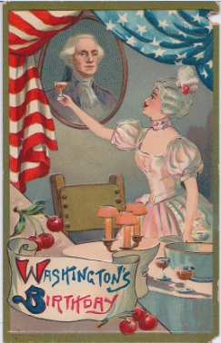 1917 postcard toasting Washington's birthday on 22nd February, with punch