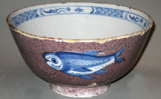 Bristol ware fish punch bowl circa 1730-40