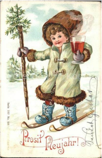 Early 1900s, mulled wine on the ski slopes