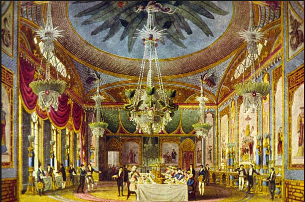 The Prince Regent's dining room in the Brighton Pavillon