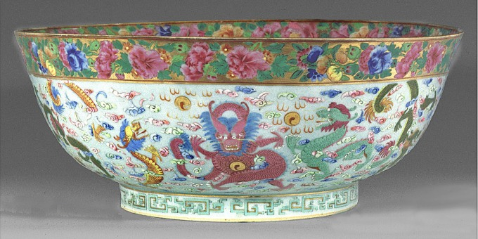 Chinese porcelain early 19th century punch bowl